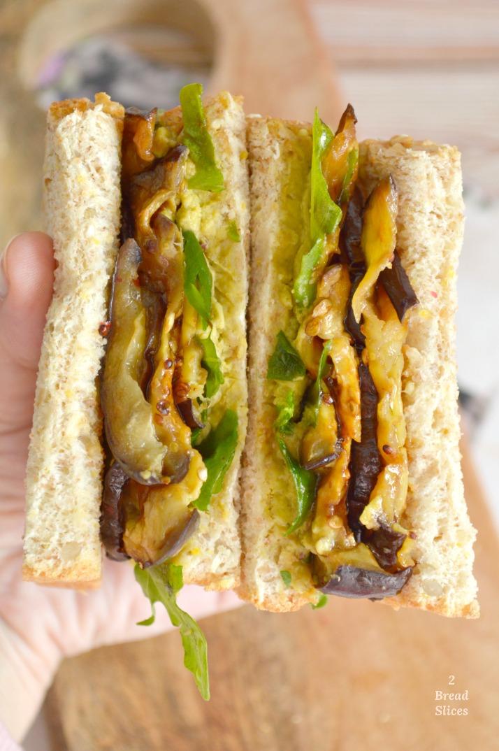 Sandwich de Berenjena y Paté de Guisantes