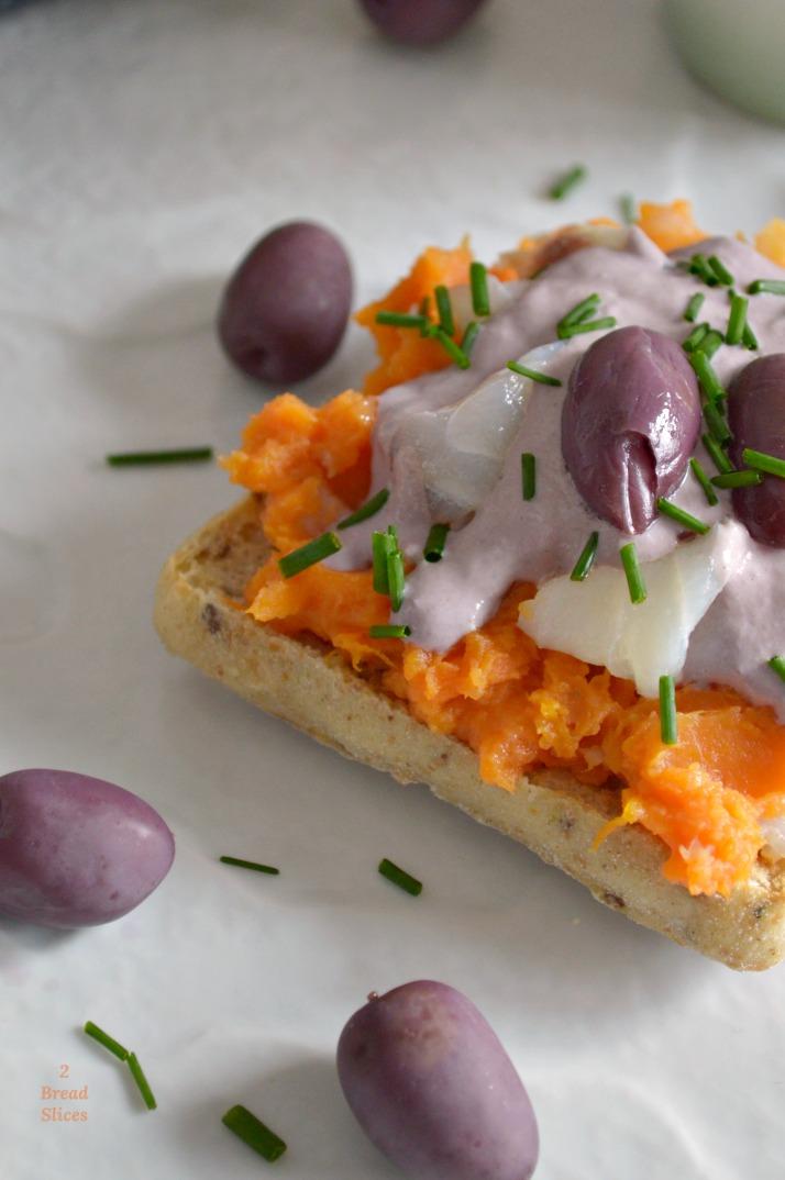 Sandwich de Batata, Bacalao y Aceituna Botija