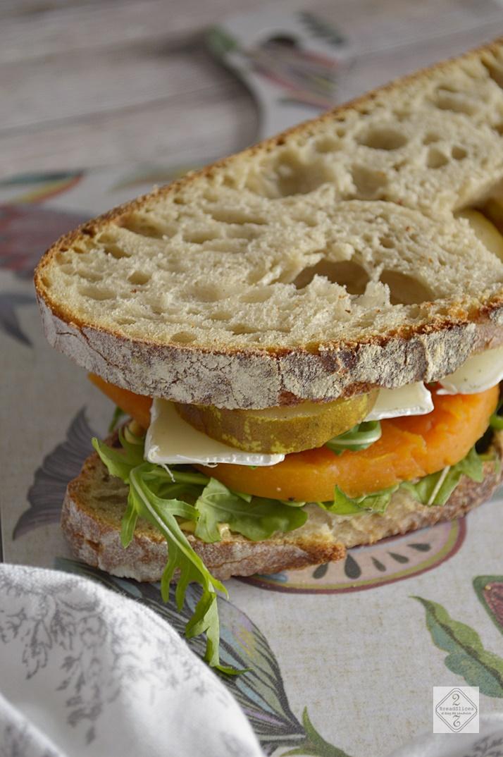 Sandwich de Calabaza, pera y rúcula