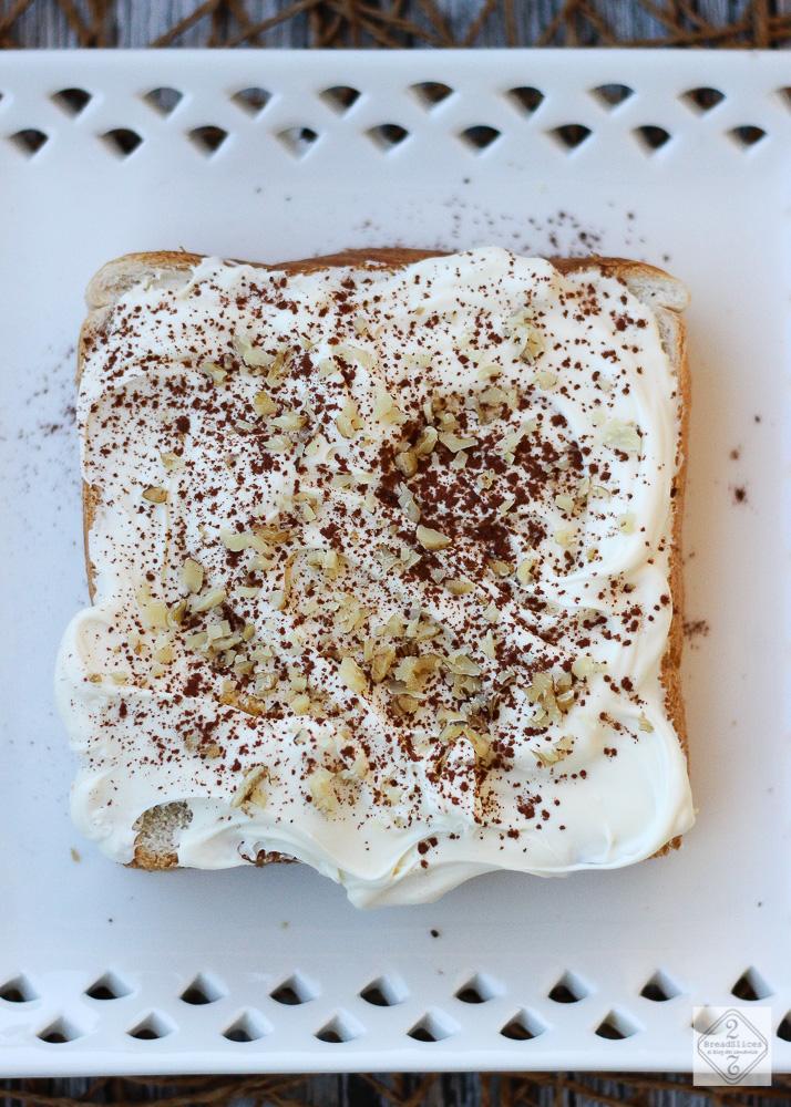 Open sandwich de tiramisú