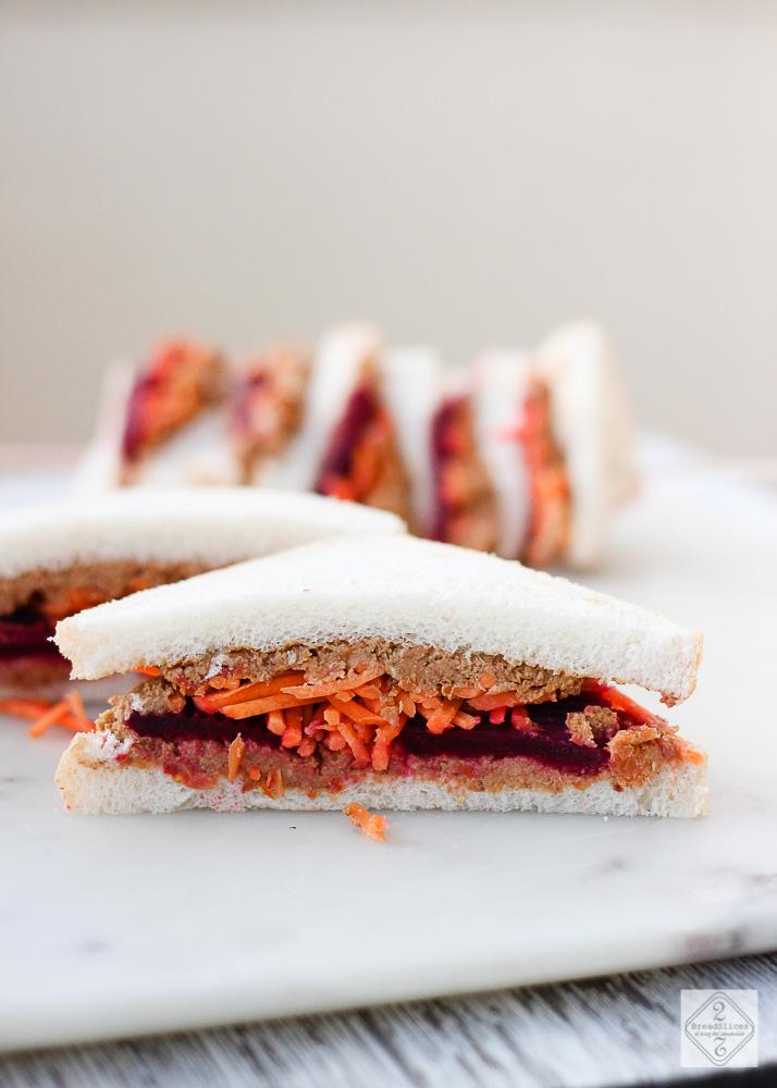 Sandwich de lentejas, remolacha y zanahoria